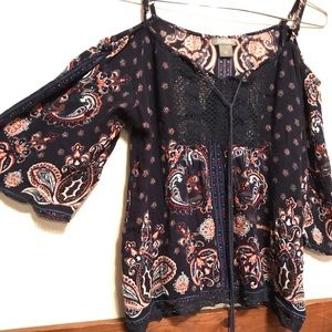 Angie Light Open Shoulder Paisley Blouse Top